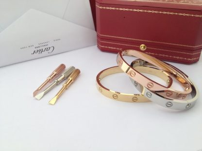 Cartier love bracelet without diamonds pink gold, yellow gold, white gold
