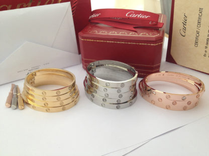 Available size 16, 17, 18, 19 yellow gold, rose gold & white gold Cartier love bracelet