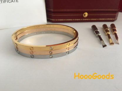 Cartier LOVE Bracelet SM yellow gold, pink gold, white gold with 6 dimaonds