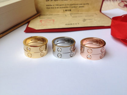 Cartier Love Ring yellow gold, pink gold, white gold with diamonds