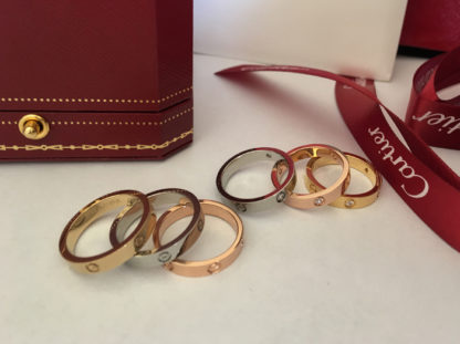 Cartier Love Ring SM diamonds yellow gold, pink gold, white gold