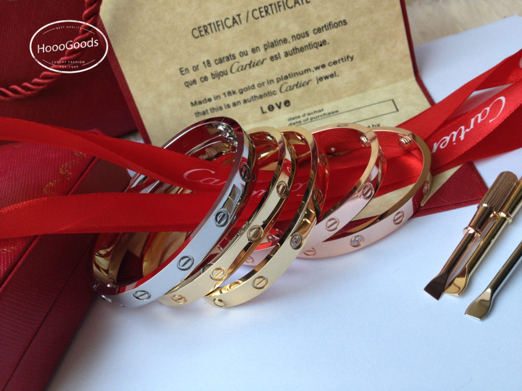 Cartier Love Bracelet Diamonds in yellow gold, white gold and rose gold