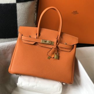 Hermes Birkin 30 Orange Togo Gold Hardware