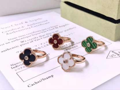 Vintage Alhambra Ring rose gold Mother-of-pearl, Onyx, Alhambra, Malachite