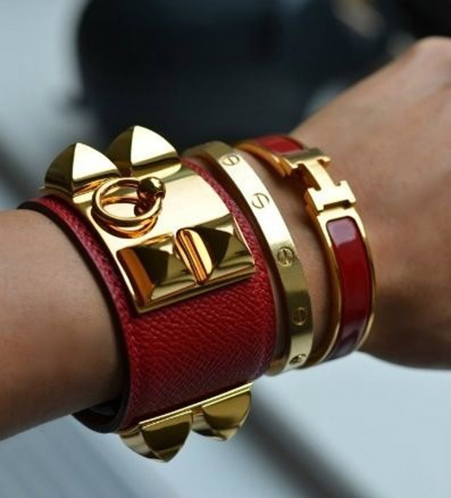 Stacking Cartier love bracelet, Hermes CDC and clic clac bracelet