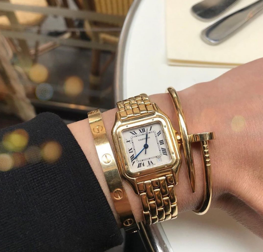 Stacking Ideas: Cartier love bracelet, Panthere De Cartier Watch and Juste un Clou Bracelet