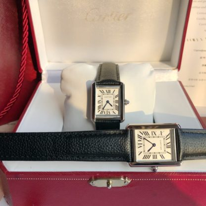 Cartier TANK SOLO WATCH large vs small model Leather Strap