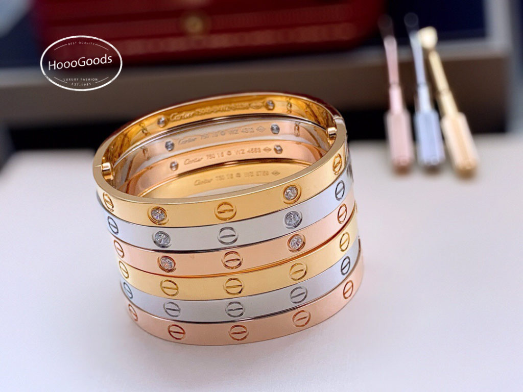 Cartier LOVE Bracelet Collection: white, pink, yellow gold. diamonds and without diamonds
