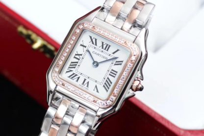 PANTHERE DE CARTIER WATCH DIAMONDS PINK GOLD AND STEEL