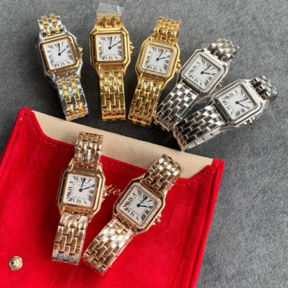 Panthere de cartier watch small model and medium model in yellow gold, pink gold and steel