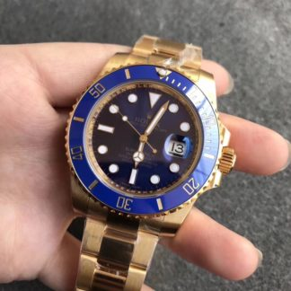 Rolex Submariner Blue Gold Date Men's Watch 116618LB