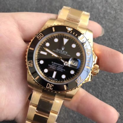 Rolex Submariner Yellow Gold Black Dial Date Watch 116618LN