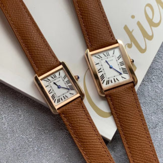 Cartier Tank Solo Watch Small And Large Model Pink Gold Leather