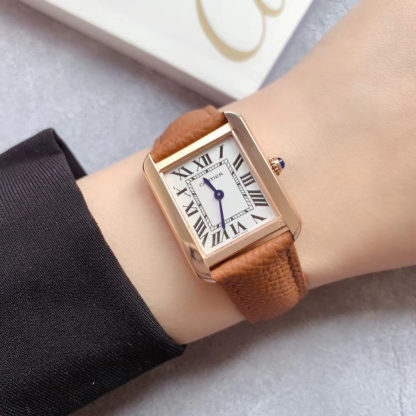 Cartier Tank Solo Rose Gold Watch brown leather strap
