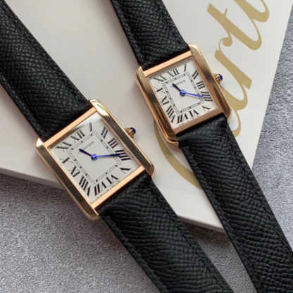 Cartier Tank Solo Watch Pink Gold Small And Large Model Pink Gold black Leather