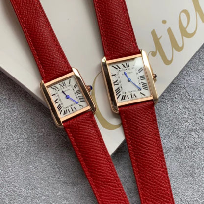 Red Cartier Tank Solo Watch Pink Gold Small And Large