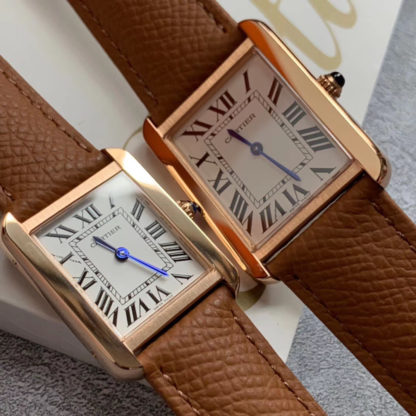 Brown Cartier Tank Solo Pink Gold Watch Small And Large