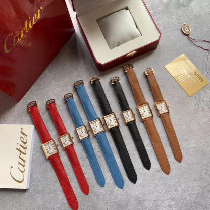 Pink Gold Cartier Tank Solo Watch Small, Large in black, red, blue, brown
