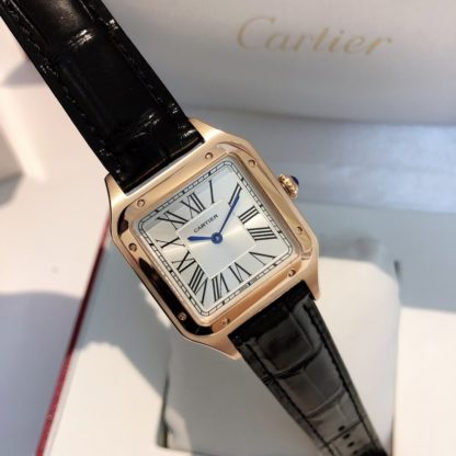Cartier Santos-Dumont Rose Gold Silver Dial Men large Watch Black alligator leather Strap