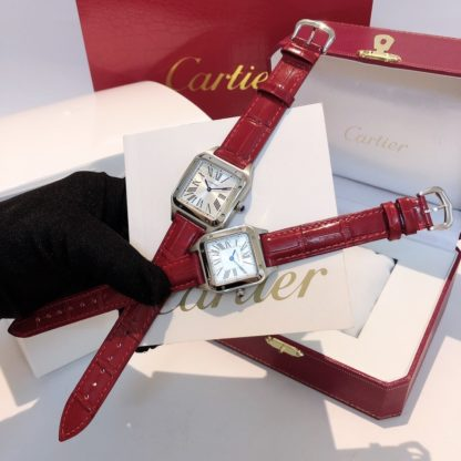 Cartier Santos Dumont women's AND men's steel red alligator leather Strap watch in small and large model