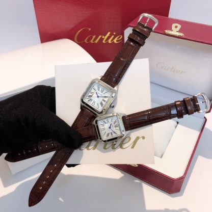 Cartier Santos Dumont women's AND men's steel brown alligator leather Strap watch in small and large model