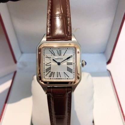 Cartier Santos Dumont pink gold and steel brown alligator leather Strap watch