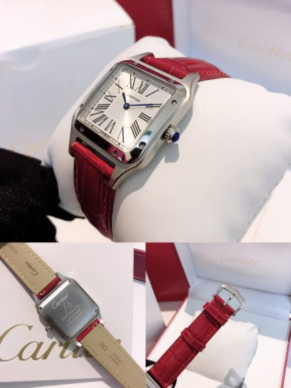 Cartier Santos Dumont steel red alligator leather Strap watch