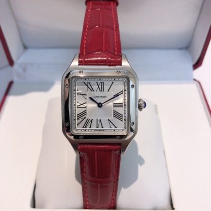 Cartier Santos Dumont men's red alligator leather Strap watch