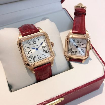 Cartier Santos-Dumont Rose Gold Silver Dial Men and women small/large Watch red alligator leather Strap