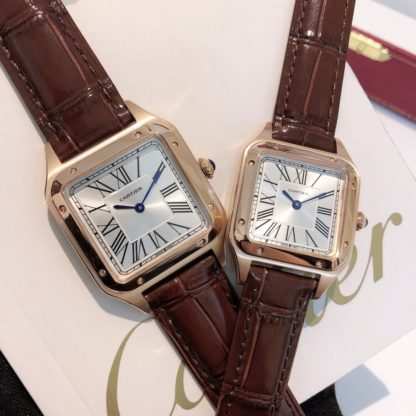 Cartier Santos Dumont pink gold Watch Women's Small Model and Men's Large Model brown alligator leather Strap