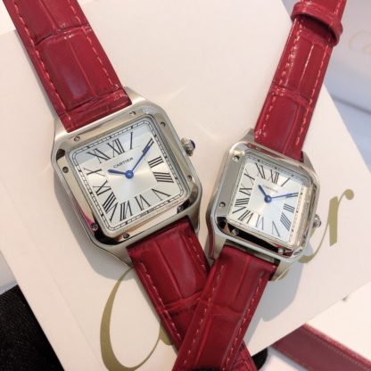 Cartier Santos Dumont steel Watch Women's Small Model and Men's Large Model red alligator leather Strap