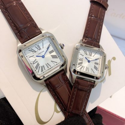Cartier Santos Dumont steel Watch Women's Small Model and Men's Large Model brown alligator leather Strap