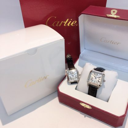 Cartier santos dumont platinum women's small and men's large black alligator leather Strap watch
