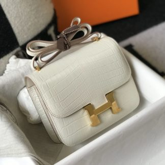 Hermes Constance 18 Mini Craie Crocodile Gold Hardware