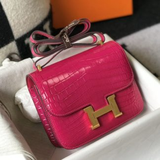 Hermes Constance 18 Mini Rose Tyrien Crocodile Gold Hardware