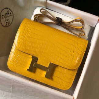 Hermes Constance 24 Amber Yellow Alligator Gold Hardware