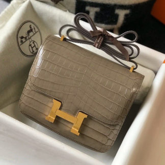 Hermes Constance 24 Grey Crocodile Gold Hardware