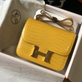 Hermes Constance Alligator Mini 18 Amber Yellow Gold Hardware