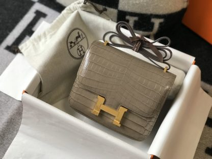 Hermes Constance Bag Mini 18 Grey Crocodile Gold Hardware