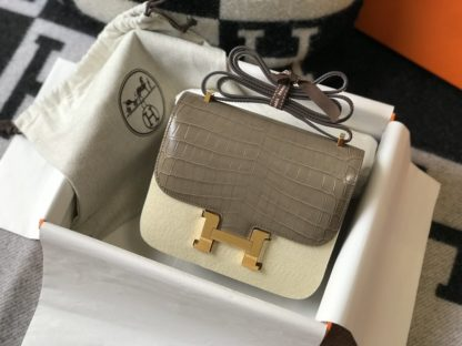 Hermes Constance Bag 18 Mini Grey Crocodile Gold Hardware