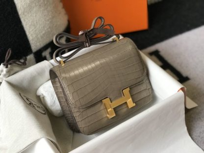 Mini Hermes Constance Bag 18 Grey Crocodile Gold Hardware