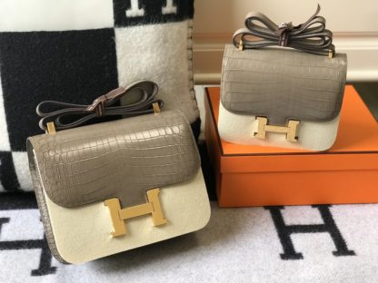 Hermes Constance Bag 24 and 18 Mini Grey Crocodile Gold Hardware
