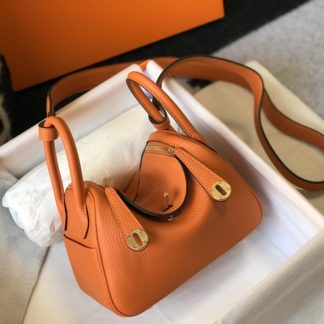 Hermes Lindy Mini 20 Orange Gold Hardware