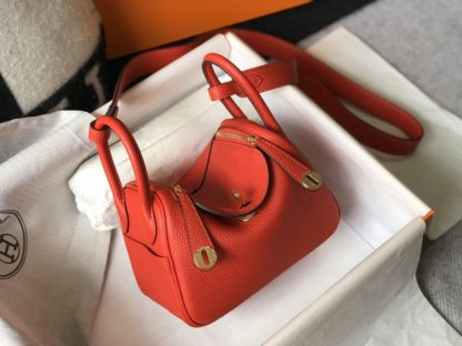Hermes Mini Lindy 20 Red Taurillon Clemence