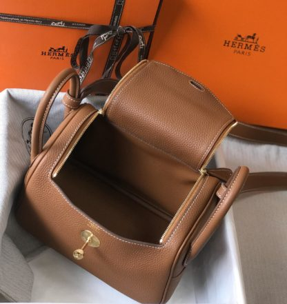 Hermes Mini Lindy Gold Taurillon Clemence Gold Hardware