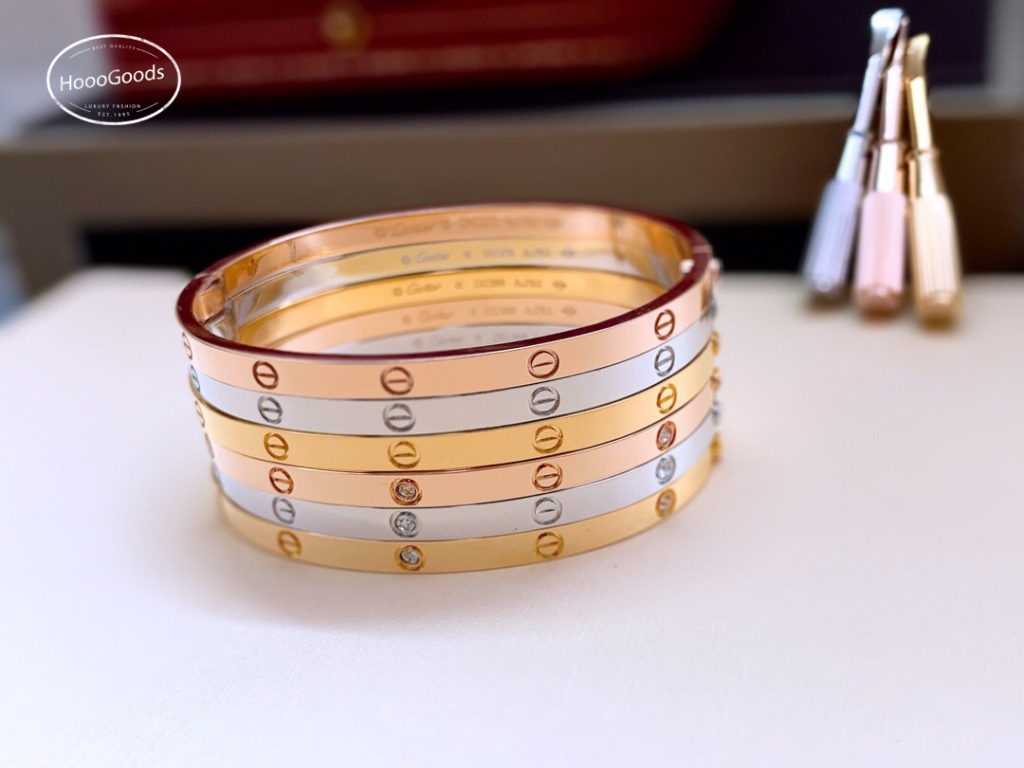 Cartier Love Bracelet thin/small model in yellow, white, pink gold diamonds and without diamond