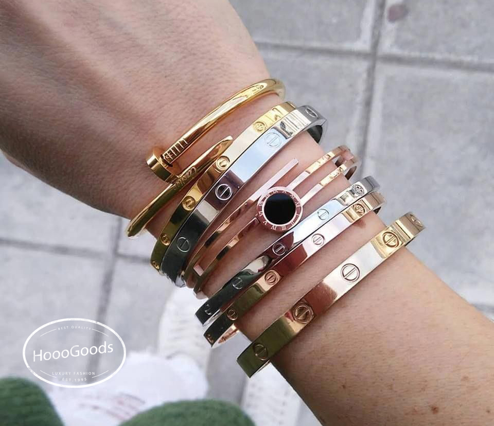 What can I stack with Cartier love bracelet? thin and classic~  yellow,white and pink gold ~