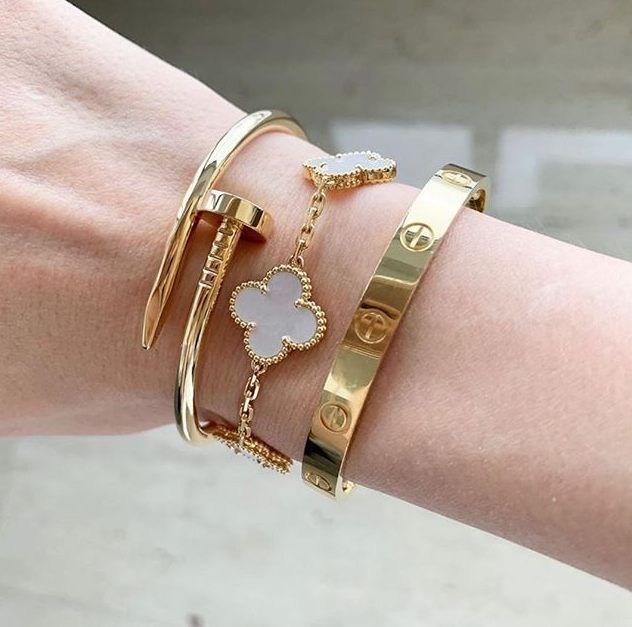 Stack: Yellow Gold Cartier Love, Juste Un Clou And Vca Alhambra Bracelet