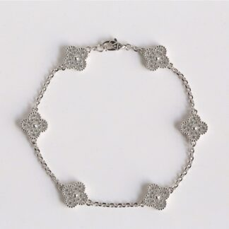 Van Cleef Sweet Alhambra bracelet 6 motifs White gold diamonds