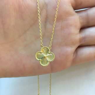 Van Cleef & Arpels Vintage Alhambra Pendant Yellow Gold Guilloché Necklace